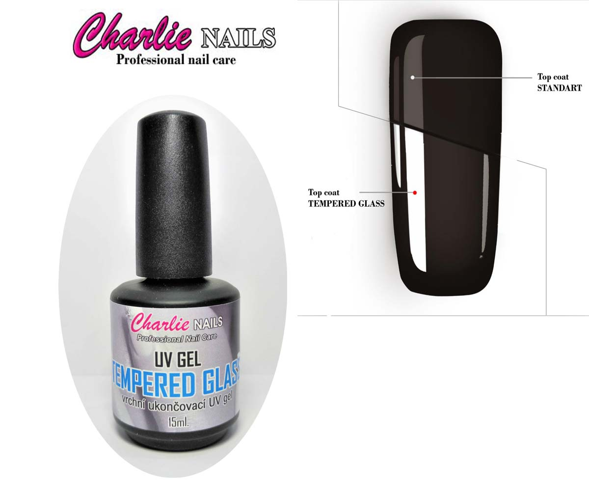 Charlie UV GEL - Tempered GLASS Top průhledný vrchní lesk : 15ml